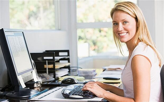 Becoming Data Entry Operator Image in Outsource Workers - Soft Skills for Data Entry Operator Woman Working on Computer Smiling