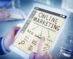 Content Marketing Strategy Image in Outsource Workers - Online Marketing Visualization on Tablet White