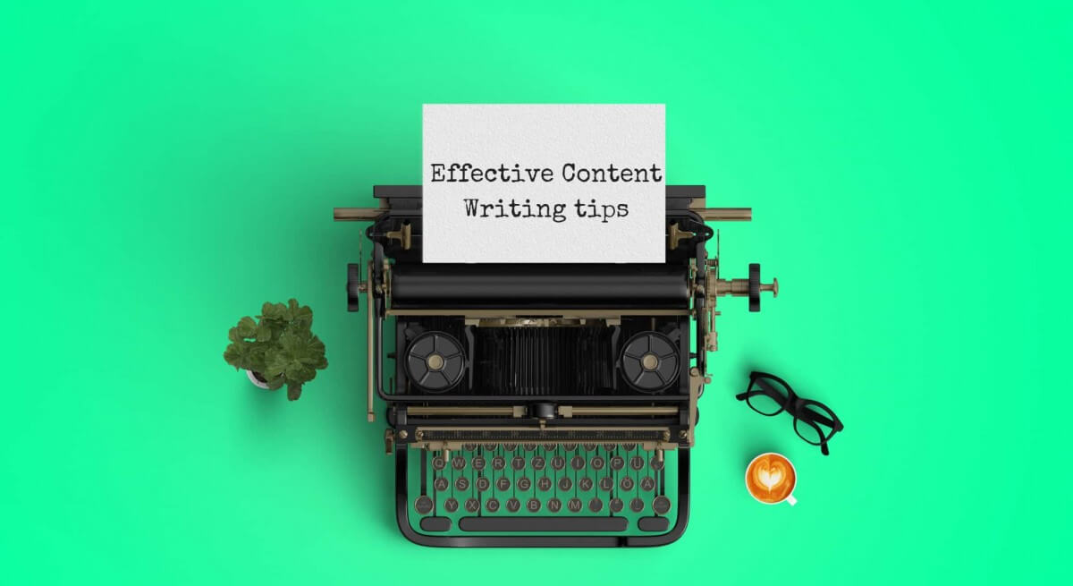 Content Writing Process Image in Outsource Workers - Effective Content Writing Tips Text on Typewriter Green Background