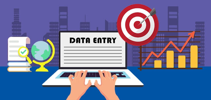 Data Entry Key Skills Image in Outsource Workers - Data Entry Process Image Illustration