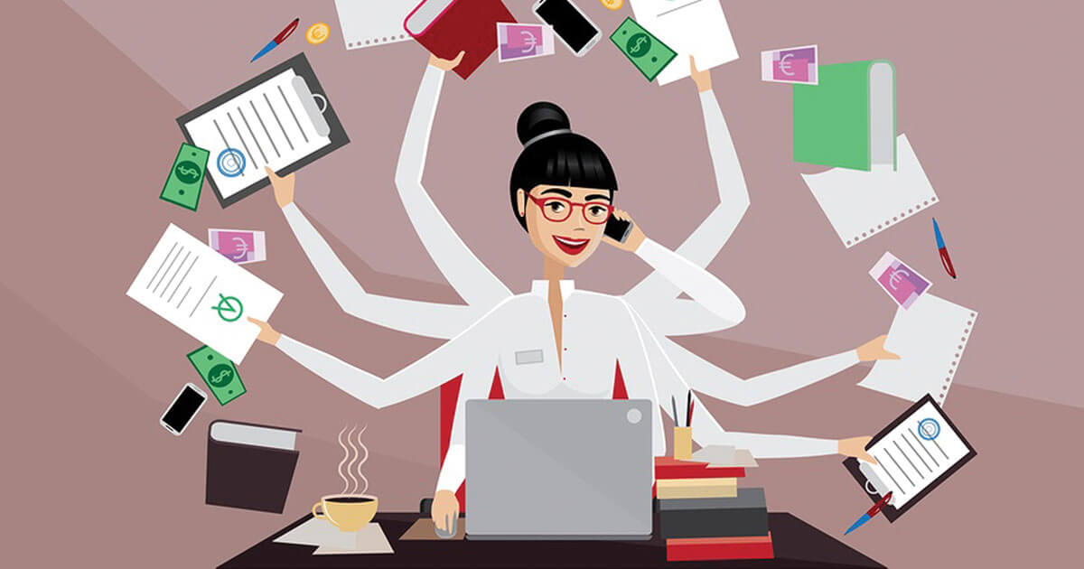 Data Entry Key Skills Image in Outsource Workers - Data Entry Skills Multitasking Image Illustration