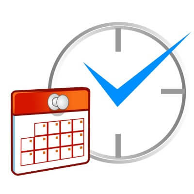 Email Marketing Planning Image in Outsource Workers - Email Distribution Schedule Clock and Calendar Image