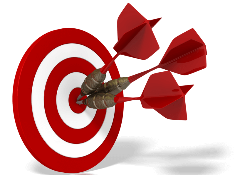 Google Adworks Making Image in Outsource Workers - Setting Your Goals 3 Pins on Bulls Eye