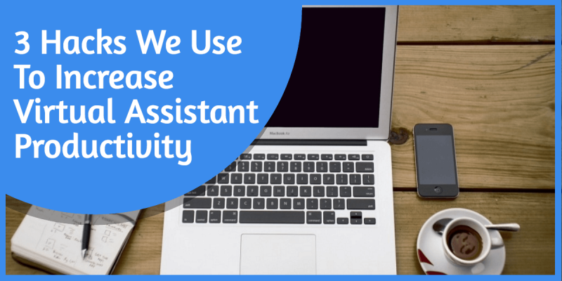 Increasing Virtul Assistant Productivity Image in Outsource Workers Coffee, Laptop and Notes