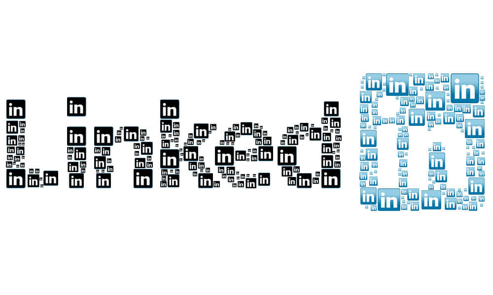 Social Media Prospecting Image in Outsource Workers - Linkedin Logo Art into Another Linkedin Logo