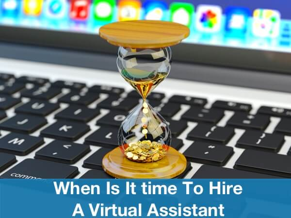 Time to Hire Virtual Assistant Image in Outsource Workers - Hour Glass with Gold Coins Flowing on Keyboard