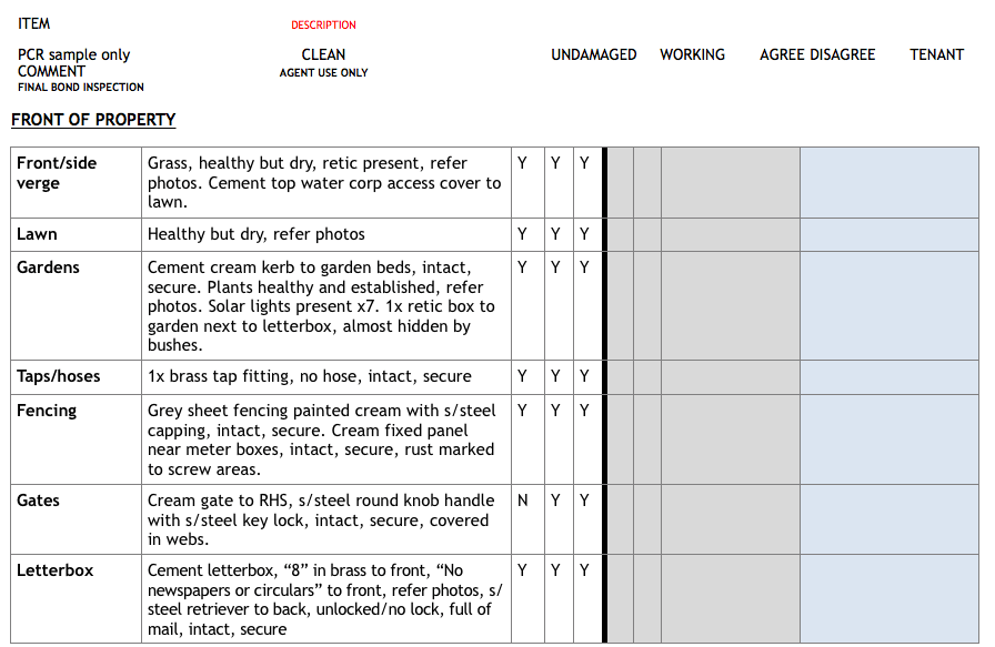Transcribing Entry Condition Reports Image in Outsource Workers Table of Front of Property Page 1