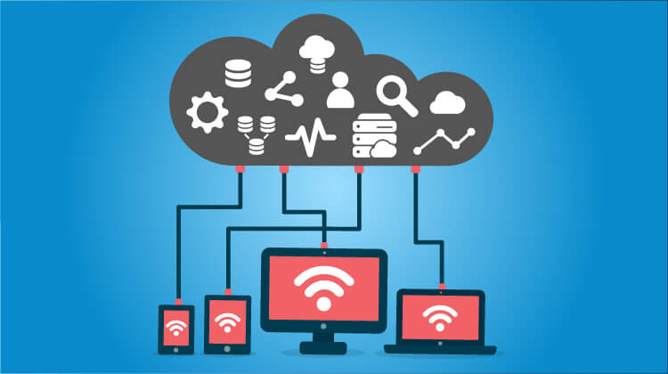 Type of Database Image in Outsource Workers Cloud Store Illustration Image